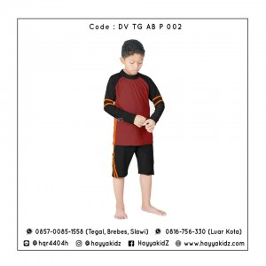 ED DV TG AB P 002 RED-BLACK BAJU RENANG ANAK EDORA