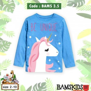 BAMS 3.5 BLUE UNICORN KAOS ANAK BAMS KIDS