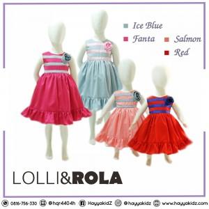 LR 1.3 STRIPE FLOWER DRESS PESTA ANAK LOLLI ROLA