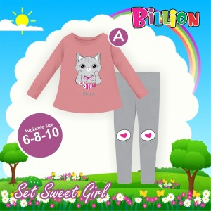 BL A PINK CAT SETELAN SWEET BILLION