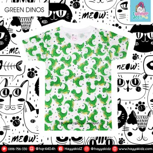 SS 3.3 GREEN DINOS KAOS ANAK SUMMER SEAN