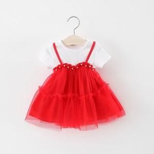CHN 2.1 RED TUTU PEARL DRESS BABY IMPORT