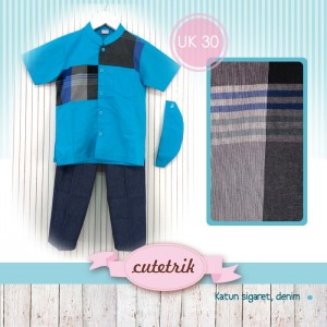 CTR UK-30 BLUE MIX SQ SETELAN KOKO ANAK CUTERIK