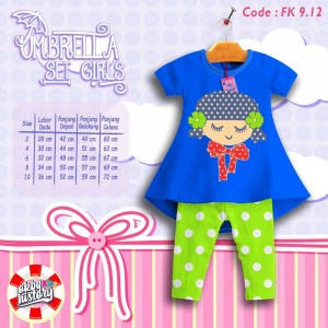 FK 9.12 BLUE SLEEP GIRL SETELAN ANAK FLOWER KIDS