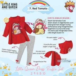 LKQ 1.7 HOT TOMATO SET DRESS RUFFLE LITTLE QUEEN AND KING