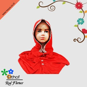 JILBAB ELTHOF RED FLOWER