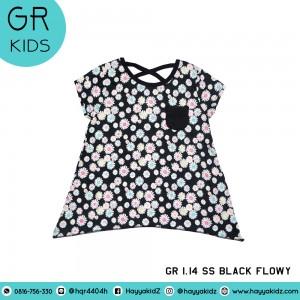 GR 1.14 SS BLACK FLOWY  KAOS ANAK GARANIMALS