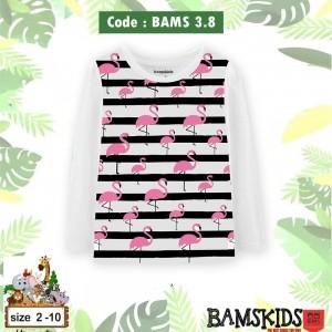 BAMS 3.8 WHITE FLAMINNGO KAOS ANAK BAMS KIDS