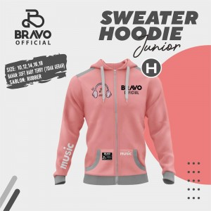 BR H DUSTY PINK MUSIC SWEATER HOODIE JUN BRAVO