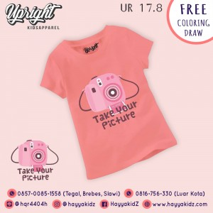 UR 17.8 PINK CAMERA KAOS ANAK UPRIGHT