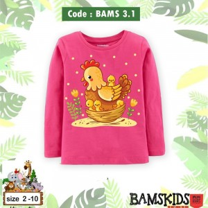 BAMS 3.1 PEACH  CHICKEN KAOS ANAK BAMS KIDS