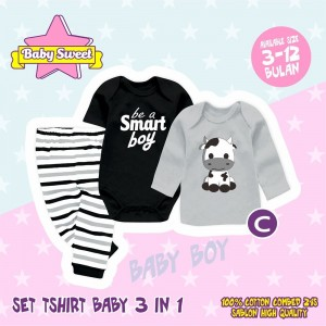 SB 1.3 GREY COW SET TSHIRT BABY 3in1 SWEET BABY