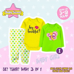 SB 1.9 GREEN BUTTERFLY SET TSHIRT BABY 3in1 SWEET BABY