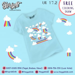 UR 17.2 BLUE RAINBOW KAOS ANAK UPRIGHT
