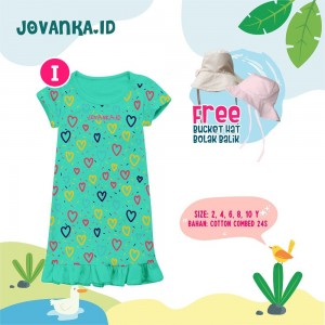 JVK I GREEN LOVE BUCKET HAT DRESS JOVANKA