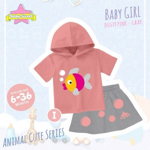 BS I DUSTY PINK FISH SET HOODIE ANIMAL CUTE SERIES BABY SWEET