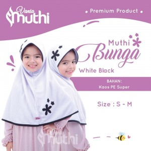 MUTHI.B WHITE BLACK SZ M MUTHI BUNGA JILBAB VANIA ANAK