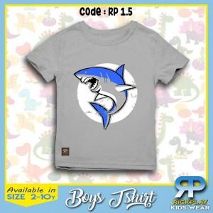 RP 1.5 GREY SHARK BOYS T-SHIRT RICKPLAY