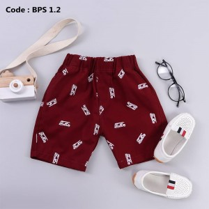BPS 4.2 JUN MAROON BOYS PATTERNED SHORT PANTS