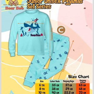 BEAR 1.3 BLUE SHARK SETELAN PIYAMA ANAK BEAR BEE