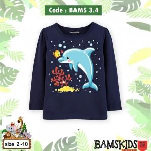 BAMS 3.4 NAVY DOLPHIN KAOS ANAK BAMS KIDS
