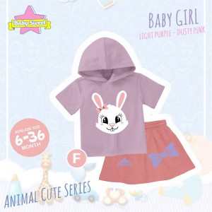 BS F PURPLE RABBIT SET HOODIE ANIMAL CUTE SERIES BABY SWEET