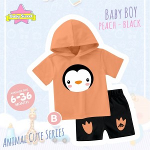 BS B ORANGE PINGUIN SET HOODIE ANIMAL CUTE SERIES BABY SWEET