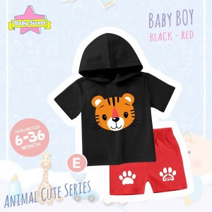 BS E BLACK TIGER SET HOODIE ANIMAL CUTE SERIES BABY SWEET