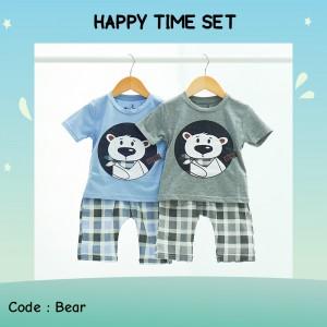 HAPPY 3.1 GREY BEAR COOL SETELAN ANAK HAPPY TIME