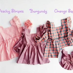 BACKBOW DRESS PEACHY STRIPES
