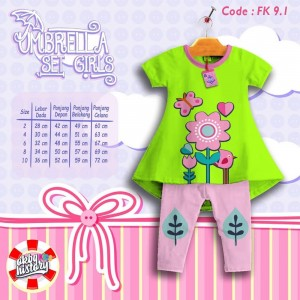FK 9.1 GREEN FLOW SETELAN ANAK FLOWER KIDS